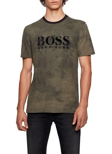 Hugo Boss  % 100 Pamuklu Baskılı Bisiklet Yaka T Shirt Erkek T Shırt 50451176 342 Haki